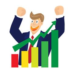 Illustration of Cheering businessman for stock market chart