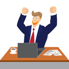 Illustration of Cheering businessman at his desk isolated