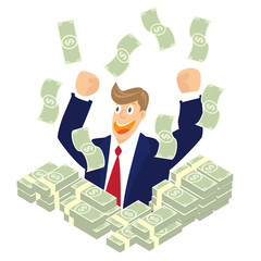 Businessman hand up in a pile of dollar money with falling money