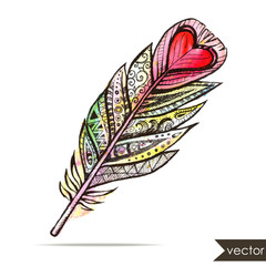 Ethnic tribal feather with heart