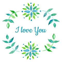 I love you. Watercolor card elements design.