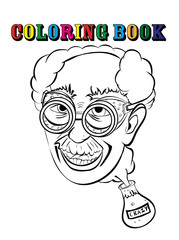 Coloring book crazy professor.