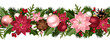 Christmas seamless garland with balls, holly and poinsettia.