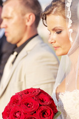 Beautiful bride and groom  getting married