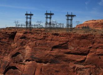 high tension pylons at glen canyon USA