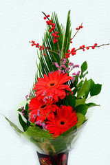 Bouquet with Daisy flower red gerbera and leaves
