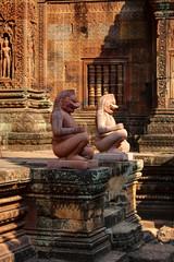 Guardians statues of Banteay Srei, Angkor Wat, Cambodia