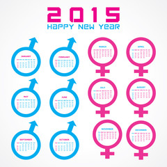 Calendar of 2015 with male and female symbol  design