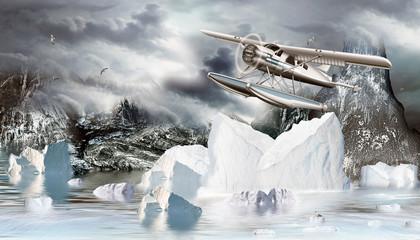 Wasserflugzeug im Eismeer mit Eisberge und Felsen