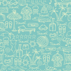 Vector pattern with cartoon symbols of travel in blue