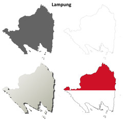 Lampung blank outline map set