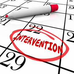 Intervention Word Circled Calendar Help Addiction Treatment