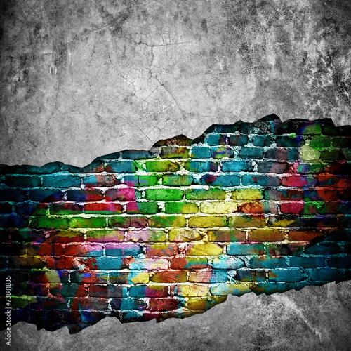 cracked brick wall - 73881835