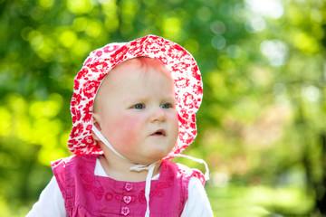Infant portrait in garden