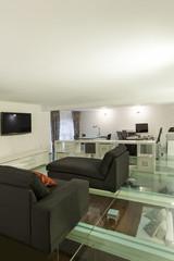 Interior, wide loft, studio
