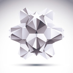 Abstract geometric 3D object, modern digital technology and scie