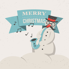 Merry Christmas greeting card with snowman and saxophone.