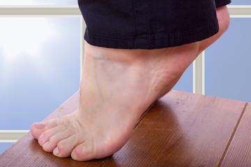 Bare feet stretch