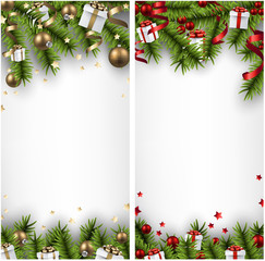 Christmas banners with spruce branches.