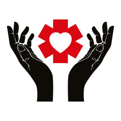 Hand with heart and emergency symbol vector symbol.