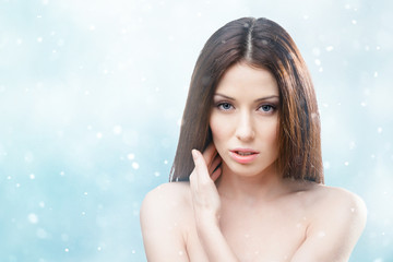 Portrait of sexy naked attractive woman, winter background