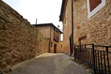calle en pueblo tipico de piedra (pesquera de ebro)