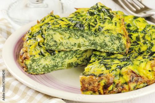 Leinwanddruck Bild Homemade Italian spinach or Swiss chard frittata omelet