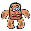 Shocked cartoon monster with stubble, vector illustration.