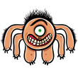 Shocked cartoon monster with one eye, black and white lines vect