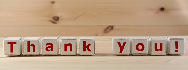 THANK YOU spelled in wooden blocks