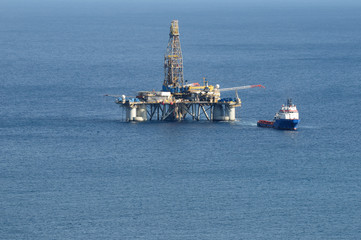 Closeup view of a oil rig offshore