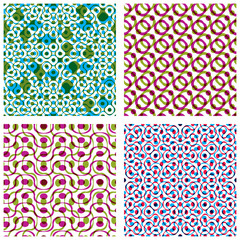 Four colorful dotted seamless patterns, set of bright polka dot
