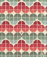 Ornamental worn textile geometric seamless pattern, vector decor