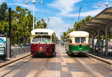 Two historic tram in San Francisco, California