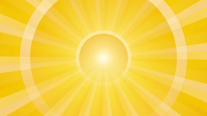 abstract yellow background with rays and pulsating circle loop