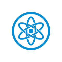Atom part on white background vector icon.