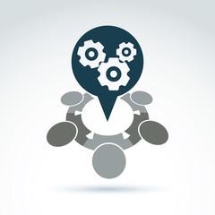 Vector illustration of gears - enterprise system theme, organiza