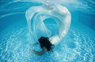 Beautiful woman underwater swiming