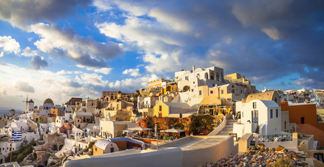 sunset over Santorini, panorama of Oia