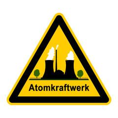 wso102 WarnSchildOrange - atom2 - Symbol - Atomkraftwerk g2649