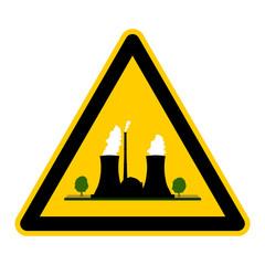 wso104 WarnSchildOrange - atom4 - Symbol - Kernkraftwerk 0 g2651