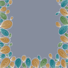 Floral bright hand drawn curly framing on grey background with w