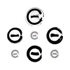 Set of monochrome hand-drawn validation icons scanned and vector