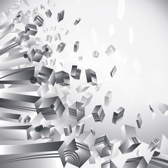 Geometric 3d flash, transparent cubes on white background.