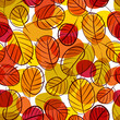 Autumn leaves seamless background, floral vector seamless patter