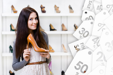 Woman keeping brown leather high heeled shoe on sale