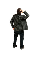 Rear view of businessman looking away