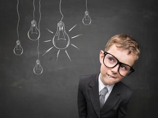 Business kid having an idea