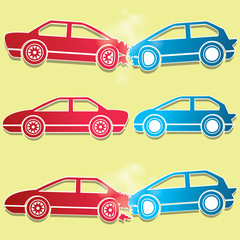 blue and red car crash icons