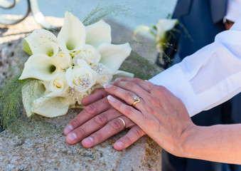 Bride and Groom showing their wedding rings